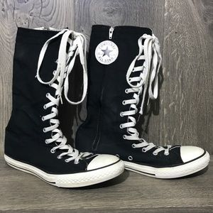 Converse High Tops Tall Black Zip Sneakers